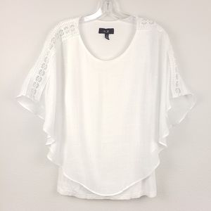 AGB | White Poncho Popover Top with Lace, S